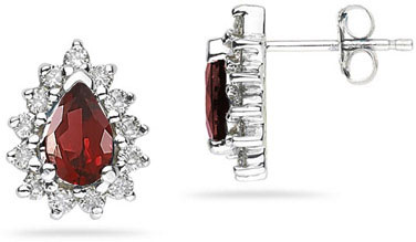 6mm x 4mm Pear Shaped Garnet and Diamond Flower Earrings in 14K White Gold