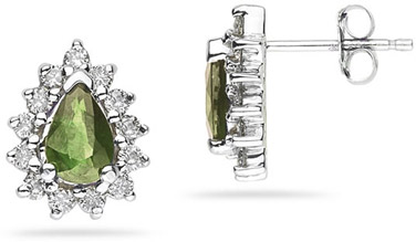 6mm x 4mm Pear Shaped Peridot and Diamond Flower Earrings in 14K White Gold