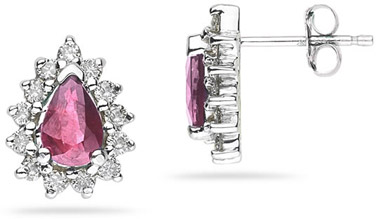 6mm x 4mm Pear Shaped Pink Topaz and Diamond Flower Earrings in 14K White Gold