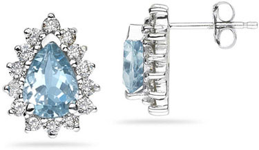 7mm x 5mm Pear Shaped Aquamarine and Diamond Flower Earrings in 14K White Gold