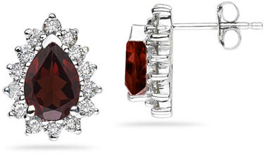 7mm x 5mm Pear Shaped Garnet and Diamond Flower Earrings in 14K White Gold