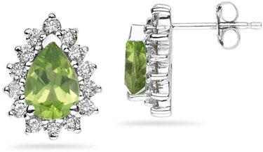 Buy 7mm x 5mm Pear Shaped Peridot and Diamond Flower Earrings in 14K White Gold