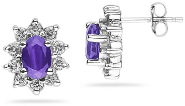 6mm x 4mm Oval Shaped Amethyst and Diamond Flower Earrings in 14K White Gold