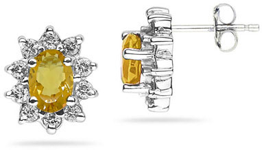 6mm x 4mm Oval Shaped Citrine and Diamond Flower Earrings in 14K White Gold