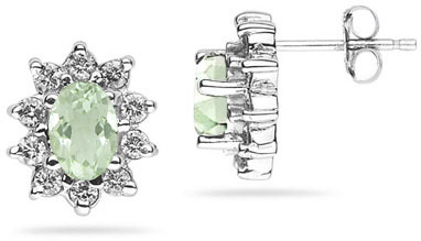 6mm x 4mm Oval Shaped Green Amethyst and Diamond Flower Earrings in 14K White Gold