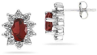 6mm X 4mm Oval Shaped Garnet and Diamond Flower Earrings in 14K White Gold
