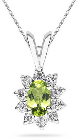 Buy 6mm x 4mm Oval Shaped Peridot and Diamond Flower Pendant, 14K White Gold