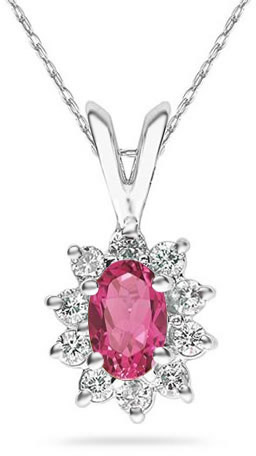 6mm x 4mm Oval Shaped Pink Topaz and Diamond Flower Pendant, 14K White Gold