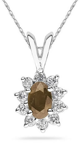6mm x 4mm Oval Shaped Smokey Quartz and Diamond Flower Pendant, 14K White Gold