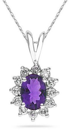 7mm x 5mm Oval Shaped Amethyst and Diamond Flower Pendant, 14K White Gold