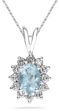 Buy 7mm x 5mm Oval Shaped Aquamarine and Diamond Flower Pendant, 14K White Gold