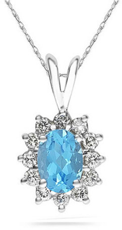 Buy 7mm x 5mm Oval Shaped Blue Topaz and Diamond Flower Pendant, 14K White Gold