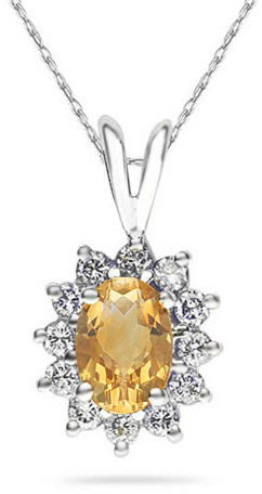 7mm x 5mm Oval Shaped Citrine and Diamond Flower Pendant, 14K White Gold