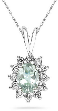 Buy 7mm x 5mm Oval Shaped Green Amethyst and Diamond Flower Pendant, 14K White Gold