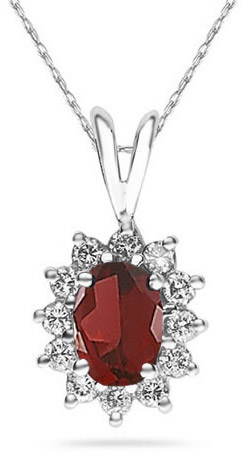 7mm x 5mm Oval Shaped Garnet and Diamond Flower Pendant, 14K White Gold