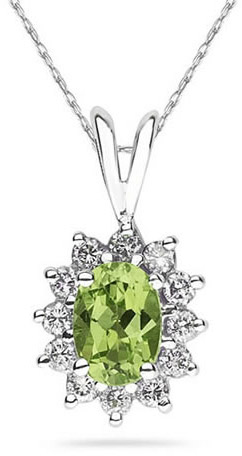Buy 7mm x 5mm Oval Shaped Peridot and Diamond Flower Pendant, 14K White Gold
