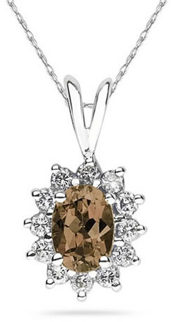 7mm x 5mm Oval Shaped Smokey Quartz and Diamond Flower Pendant, 14K White Gold