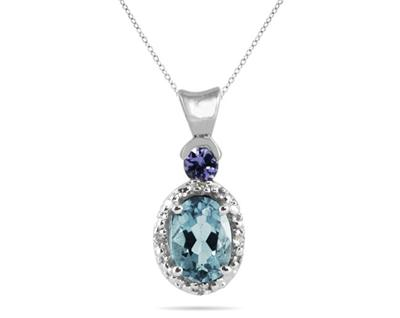 Aquamarine and Tanzanite Diamond Pendant, 10K White Gold