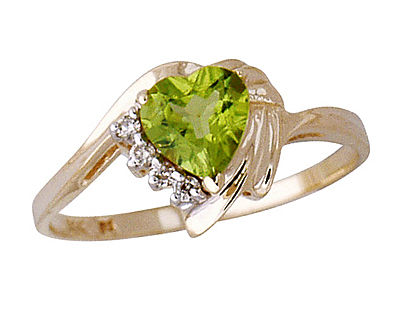 Buy 14K Yellow Gold Peridot and Diamond Heart Ring