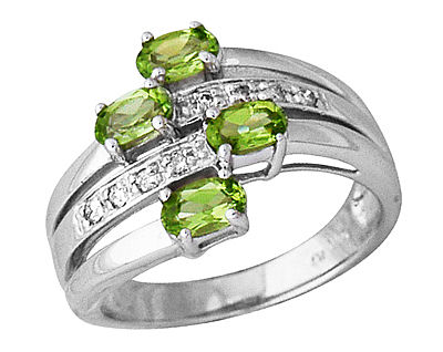 Buy Peridot and Diamond Wrap Ring, 14K White Gold