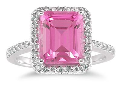 Buy Emerald Cut Pink Topaz and Diamond Ring 14K White Gold