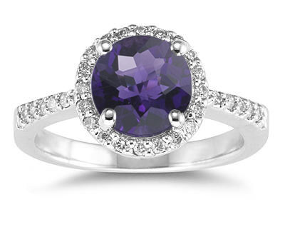 Buy Amethyst and Diamond Ring in 14K White Gold