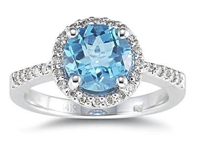 Buy Blue Topaz and Diamond Ring 14K White gold