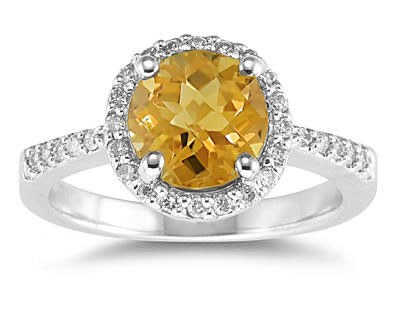 Buy Citrine and Diamond Ring in 14K White Gold