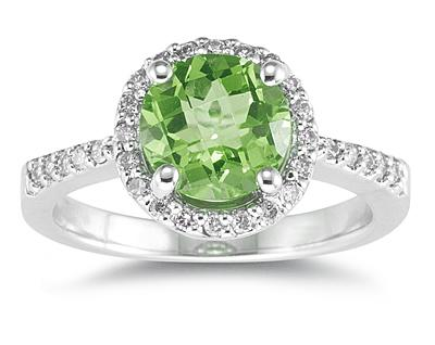 Buy Peridot and Diamond Ring in 14K White Gold