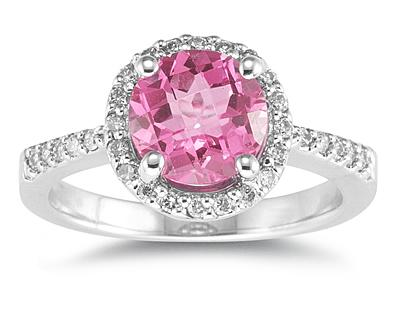 Buy Pink Topaz and Diamond Ring in 14K White Gold