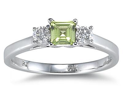 Three Stone Peridot and Diamond Ring, 14K White Gold
