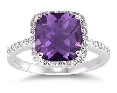 Cushion Cut Amethyst and Diamond Ring, 14K White Gold