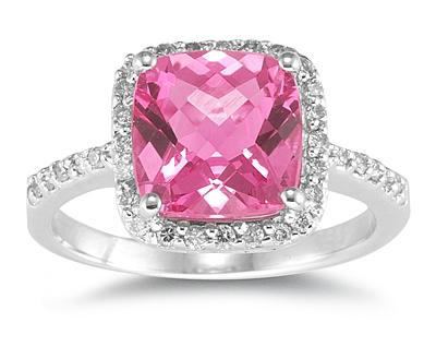 Cushion Cut Pink Topaz and Diamond Ring, 14K White Gold