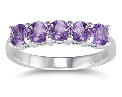 Five Stone Amethyst Ring, 14K White Gold