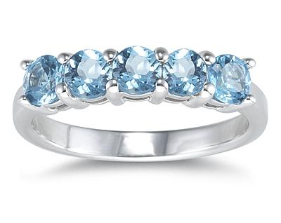 Five Stone Blue Topaz Ring, 14K White Gold