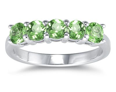 Five Stone Peridot Ring, 14K White Gold