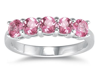 Five Stone Pink Topaz Ring, 14K White Gold