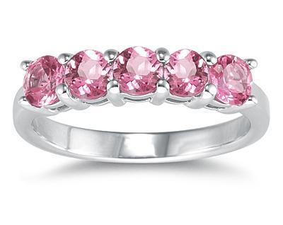 Five Stone Pink Topaz Ring, 14K White Gold