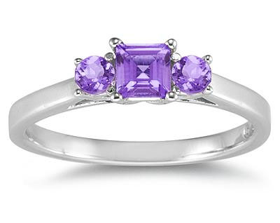 Three Stone Amethyst Ring, 14K White Gold