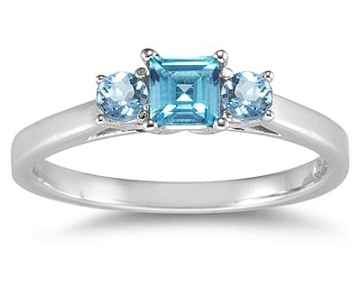 Buy Three Stone Blue Topaz Ring, 14K White Gold