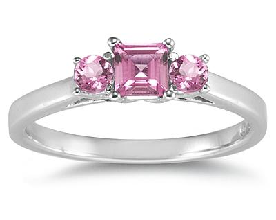 Three Stone Pink Topaz Ring, 14K White Gold