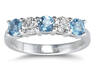 Five Stone Blue Topaz and Diamond Ring,14K White Gold