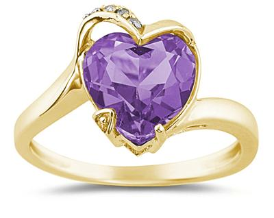 Heart Shaped Amethyst and Diamond Ring, 14K Yellow Gold