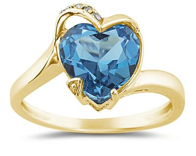 Heart Shaped Blue Topaz and Diamond Ring, 14K Yellow Gold