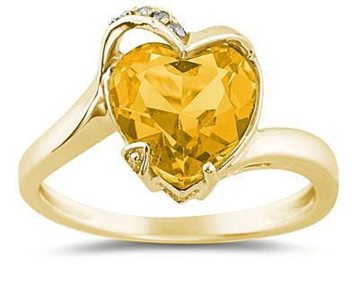 Heart Shaped Citrine and Diamond Ring, 14K Yellow Gold