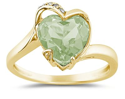 Heart Shaped Green Amethyst and Diamond Ring, 14K Yellow Gold