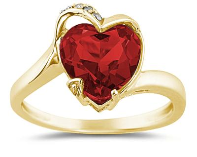Heart Shaped Garnet and Diamond Ring, 14K Yellow Gold