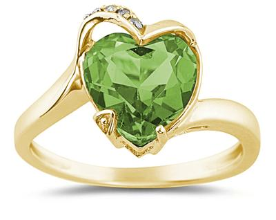 Heart Shaped Peridot and Diamond Ring, 14K Yellow Gold