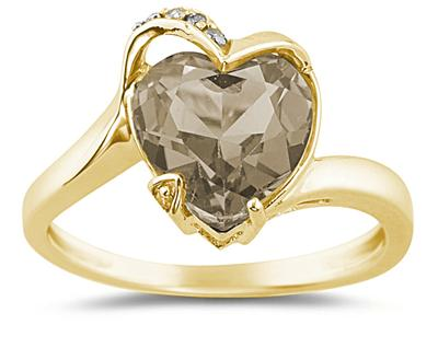 Heart Shaped Smokey Quartz and Diamond Ring, 14K Yellow Gold