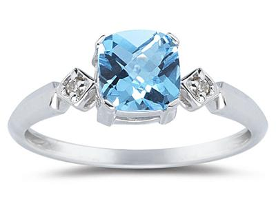 Cushion Cut Blue Topaz and Diamond Ring in 10K White Gold